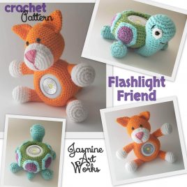 Flashlight Friend Kitten and Frog Crochet Pattern